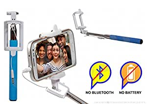 Selfie Stick Monopod With Wired Aux Cable Connectivity Compatible For CelkonCampus Pride -Cyan