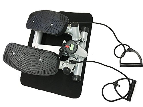 Style home® Stepper powerful stepper Mini Stepper Fitness stepper incl. Traningsbänder Display Grau