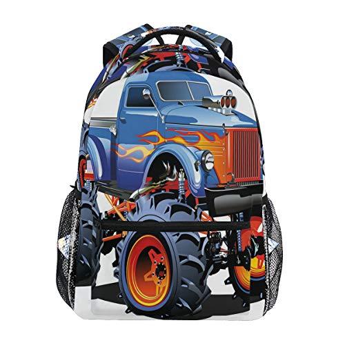 SIONOLY Zaini,Cartoon Monster Truck Enormi pneumatici fuoristrada pesanti grandi trattori ruote turbo,Nuovo Daypack casual Bookbag per la scuola Borse a tracolla regolabili Zaino da viaggio