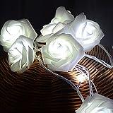 Weiß 2m 20 Rose Blumen LED Lichterkette Romantische Party Indoor Decor Batterie Power Schlafzimmer Hochzeit Foto Garten Hängen Weihnachten Weihnachten Valentinstag Dekoration