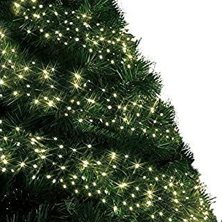 Cluster Tree Lights 720 LED 9m Warm White Indoor/Outdoor Christmas Lights String Fairy Gutter Lights Memory Timer Mains Powered 29ft Lit Length 10m/32ft Lead Wire Green Cable