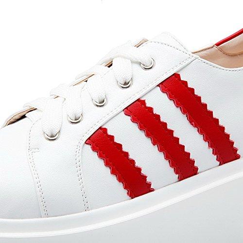 VogueZone009 Femme Pu Cuir Couleurs Mélangées Lacet Rond à Talon Correct Chaussures Légeres Rouge