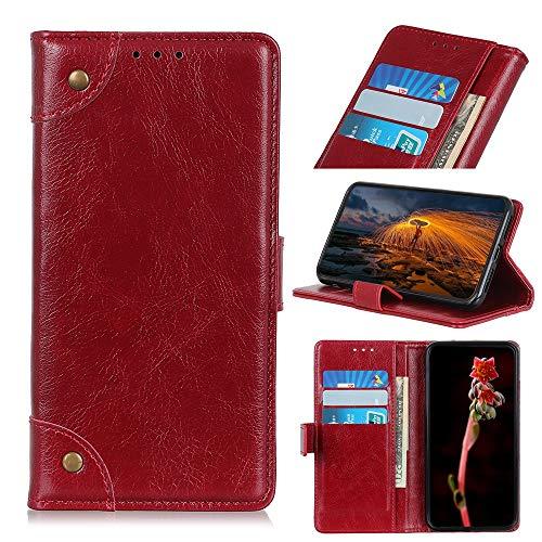 PAN-DE Ledertaschen CUBOT Copper Buckle Nappa Texture Horizontal Flip Leder Tasche für Xiaomi 9 SE, mit Halter & Kartensteckplätze & Geldbörse (Schwarz) (Color : Wine Red)