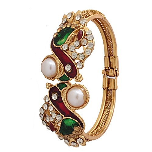 Variation Peacock Pearl Meenakari Openable Bangle For Women - VD11400  available at amazon for Rs.199