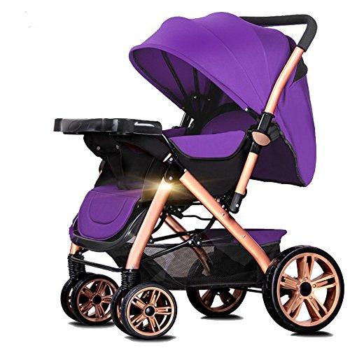 Cochecito De Dos Ruedas De Cuatro Ruedas Trolley Ligero Amortiguador Plegable Puede Sentarse Carrito De Descanso,Purple