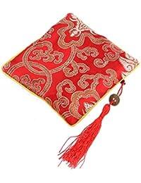 OULII Monedero de las mujeres de la vendimia monedero de la bolsa de la joyería de la borla monedero pequeño con la cremallera (rojo)