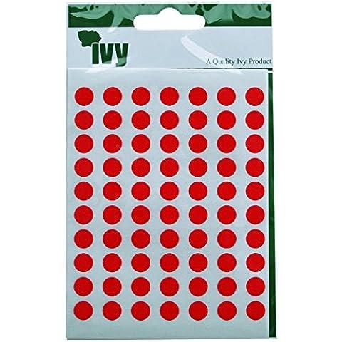 Ivy 8 mm-Red Dot-Spot etichette adesive, cerchio adesivi, 490 adesivi)
