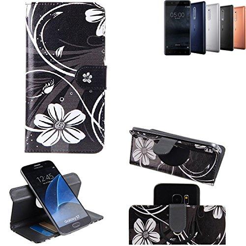 K-S-Trade Schutzhülle Nokia 5 Dual-SIM Hülle 360° Wallet Case Schutz Hülle ''Flowers'' Smartphone Flip Cover Flipstyle Tasche Handyhülle schwarz-weiß 1x
