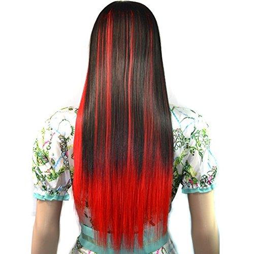 Haar & Perücke, Neue mode 60cm lange gerade cosplay perücke von schräg pony und farbe ist schwarz und rot highlight für party (Color : Black and red highlight) -