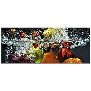 Leinwandbild Kunst-Druck 125x50 Bilder Essen /& Getränke Erdbeeren Wasser