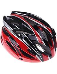 TOOGOO(R)casque de velo cyclisme sportif Ultraleger moule solidairement avec visiere adulte(noir+rouge)