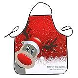 Delantal Navidad Impermeable OULII Delantal Cocina Motivos Cabeza de Reno