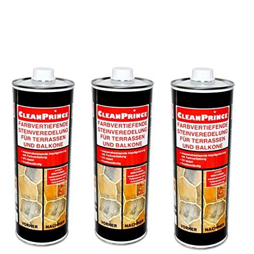 Sandstein-ziegel-platten (CleanPrince 3 x 1 Liter Farbvertiefende Steinveredelung für Terrassen und Balkone Farbvertiefer Imprägnierung Fleckstopp Marmor Naturstein Beton Versiegelung Sandstein Granit Kalkstein)