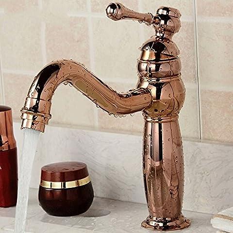 Vintage Style Single Control Rustic Bathroom Faucet, Antique Copper Finish Bathroom Sink Faucet ,Good Quality ( Color : Rose gold )