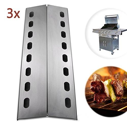 ADAMOA 3x Brennerabdeckung Flammenblech aus rostfreiem Edelstahl Gasgrill Ersatzteil - 43,5 x 15 cm (Flammenverteiler, Aromaschienen)