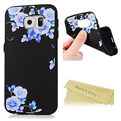 Mavis's Diary Samsung Galaxy S6 Case ,S6 Floral Case - Ultra Thin [3D Relief Prints] Scratch Resistant TPU Gel Rubber Soft Skin Silicone Protective Case Cover Exact-Fit Black Case [Gold Button Protection] - Morning
