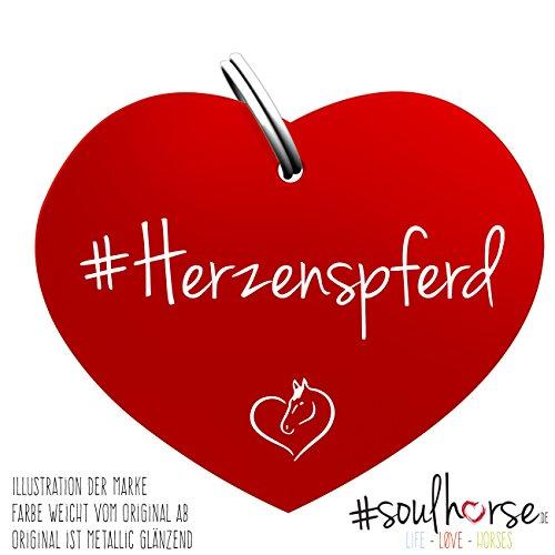 """Pferde Glücksmarke """"Herzenspferd"""" Herz Rot von Soulhorse fürs Halfter, Trense und Zaumzeug"""