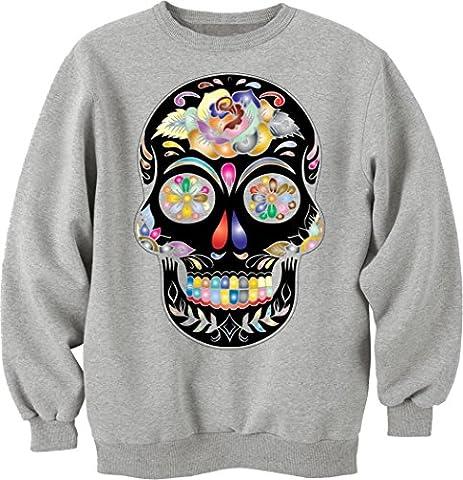 Prismatic Sugar Skull Silhouette Unisex Sweater Medium
