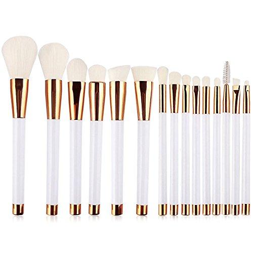 UNIMEIX Make-up Pinsel, 15 Stück Augen Rose Gold Make-up Pinsel Set, helle Farbe Griff, weiche seidig Make-up Pinsel Set mit transparenten Silikon-Mixer, 4 Farben (Weiß) (Versprechen Der Rose)