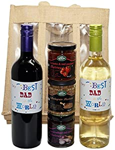 Uk Giftbox Best Dad in the World White Wine, Red Wine and Chutneys Gift Set