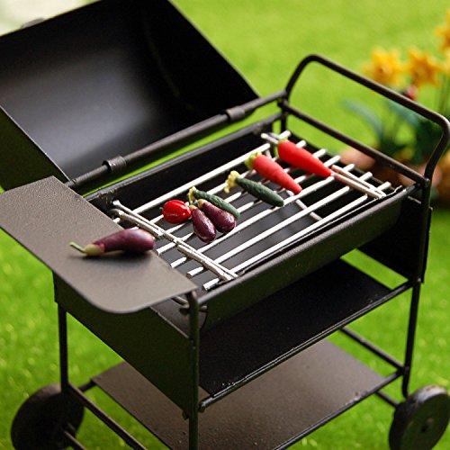 1:12 niedlich Puppenhaus Miniatur Küche schwarzes Mini bbq Grill Grillofen