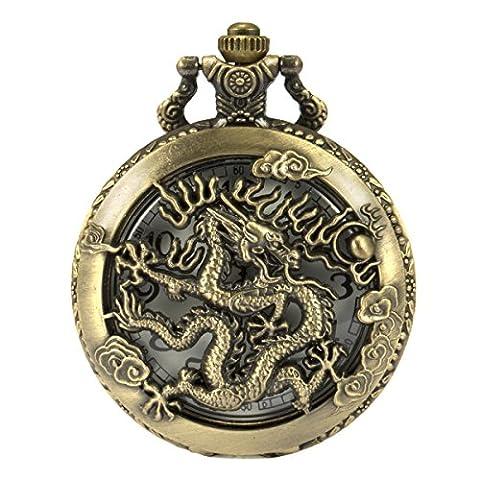SIBOSUN ancien le chinois dragon montre de poche chaîne box antiquité trous de bronze le quartz