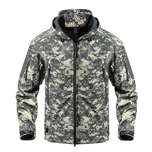 CRYSULLY Herren Outdoor Klettern Winddicht Taktische Softshelljacke Fleece Kapuzenmantel, Herren, ACU, US M (Tag Size L) -