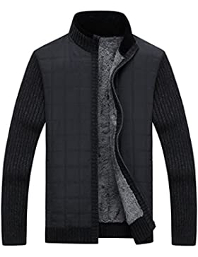 PDFGO Maglioni Per Uomo Maglia Cardigan Maglione Velluto Addensare Inverno Uomo Colletto Collo Alto Cappotto