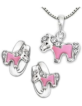 CLEVER SCHMUCK-SET Silberne Kindercreolen Ø 10 mm Mini Pony, teils rosa lackiert mit mehreren Zirkonias und Anhänger...
