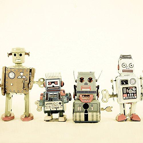 JP Londres cnvsqm2359galería Wrap lienzo 2en Galería de gramaje extra grueso Wrap lienzo pared arte Retro Robot alineación de máquinas en 22en por 22en