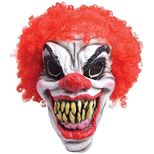 Spassprofi Maske Horror Clown m. roten Haaren Clownsmaske ()