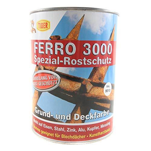 Preisvergleich Produktbild Tiger Ferro 3000 Rostschutz Grund & Deckfarbe Kunstharzbasis seidenmatt 2, 5 Liter Farbwahl,  Farbe (RAL):RAL 9010 Reinweiß