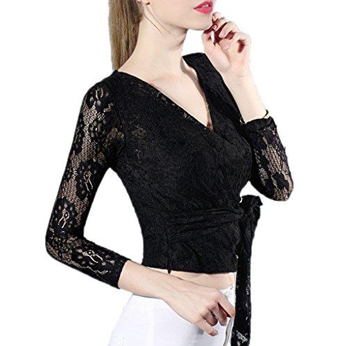 Smile YKK T-shirt Manche Longue Femme Dentelle Pull Col V Profond Top Court Chemise Blouse Mode Noir