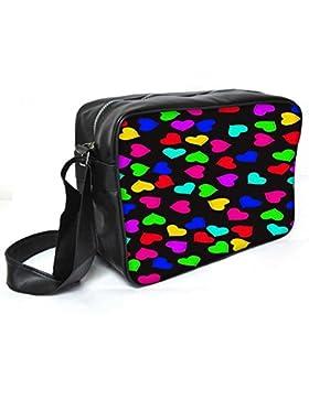 Snoogg Herz Muster 2421Leder Unisex Messenger Bag für College Schule täglichen Gebrauch Tasche Material PU