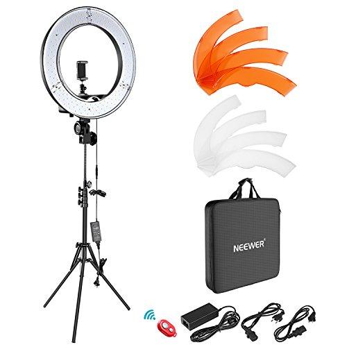 Neewer Ringleuchte Set: 18 Zoll/48 Zentimeter Außen 55W 5500K dimmbare LED-Ringlicht, Lampenstativ, Bluetooth-Empfänger für Youtube, Vine Self-Portrait der Videoaufnahme