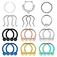 "Lcolyoli 20Pcs 16G Surgical Steel Septum Nose Ring Hoop Horseshoe Barbell Cartilage Daith Earrings Tragus Clicker Retainer Body Piercing Jewelry for Women Men 10mm (3/8"")"