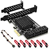 Rivo Scheda PCIe SATA, 6 Porte con 6 Cavi SATA, Scheda di espansione Controller SATA con Staffa a Basso Profilo, Marvell 9215 Non-Raid, Boot as System Disk, Supporta 6 dispositivi SATA 3.0 (SA3014)