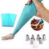 EQLEF® Silikon-Icing Piping Creme-Gebäck-Beutel und 6 x Edelstahldüse Set DIY Kuchen DIY Werkzeug ve…