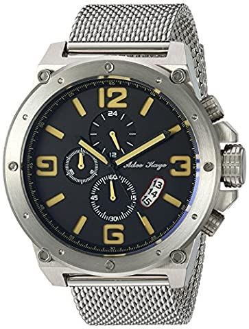 Adee Kaye Men's Quartz Stainless Steel Dress Watch, Color:Silver-Toned (Model: AK8896-MBN / SIL