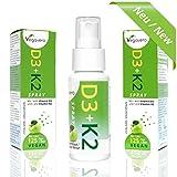 Vitamine D3 + K2-MK7 Vaporisateur | 25ml - 125 Sprays - approvisionnement de 4 mois | 20 mcg de vitamine D3 (800 UI) + 75 mcg de vitamine K2 par pulvérisation | Absorption optimale du calcium et santé osseuse | Sans Gélatine et Sans Additifs | VEGAN de Vegavero | 1 Boite
