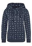 Sublevel Damen Sweathoodie mit Allover-Anker-Print | Sportlich-Eleganter Kapuzenpullover Blue XS