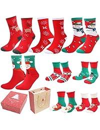 Emooqi Calcetines de Navidad, Calcetines de Algodón de Navidad Calcetines Térmicos de Navidad Regalo de Navidad con Exquisita Caja de Regalo y Bolsa de Regalo Para Niños y Adultos