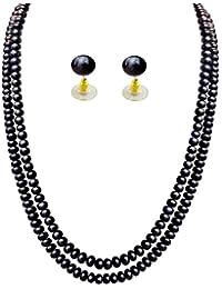 Jpearls Esteem 2 Line Black Pearl Set