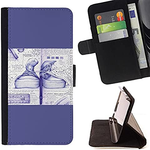 Momo Phone Case / Protettiva Custodia Flip Wallet in pelle - Sneakers Art Schizzo Blu Calzature - LG G4c Curve H522Y (G4 MINI), NOT FOR LG G4