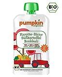 Pumpkin Organics SPASS Bio Gemüsepüree Quetschie aus Karotte, Süßkartoffel, Brokkoli und Birne (10x100g) I Baby Snacks ab dem 6. Monat