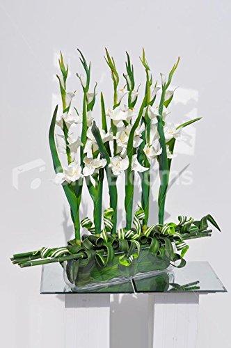 Arreglo Floral de bambú y gladiolis Artificiales de Color Blanco Fresco