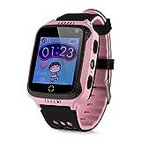 GPS-Telefon Uhr OHNE Abhörfunktion, für Kinder, SOS Notruf+Telefonfunktion, Live GPS+LBS Positionierung, funktioniert weltweit, Anleitung + App + Support auf deutsch (Pink)