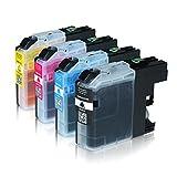 Logic-Seek 4 Tintenpatronen kompatibel für Brother LC-123 LC123 LC-121 LC-127 LC-125 XL für Brother MFC-J470DW MFC-J870DW DCP-J552DW - Schwarz 20ml, Color je 14ml mit Chip