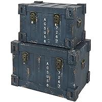 ts-ideen juego set de 2 Containers estantería cómoda caja cofre de diseño estilo retro shabby industrial, color azúl verde - Muebles de Dormitorio precios