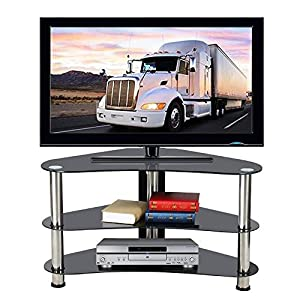 Popamazing Modern Corner TV Stand Cabinet Unit Black Glass Storage Shelf Chrome Legs